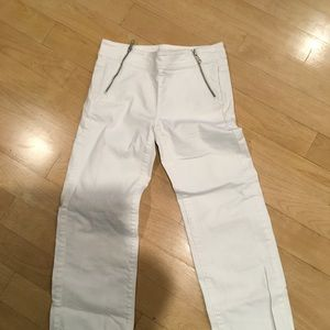 Loft wide leg crop with zippers white size 24/00